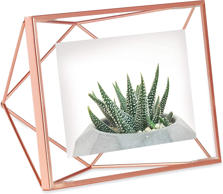 UMBRA Prisma Cadre photo filaire en métal entre deux-verres Prisma, poser ou à accrocher, Pour 1 photo 10x15cm cuivre