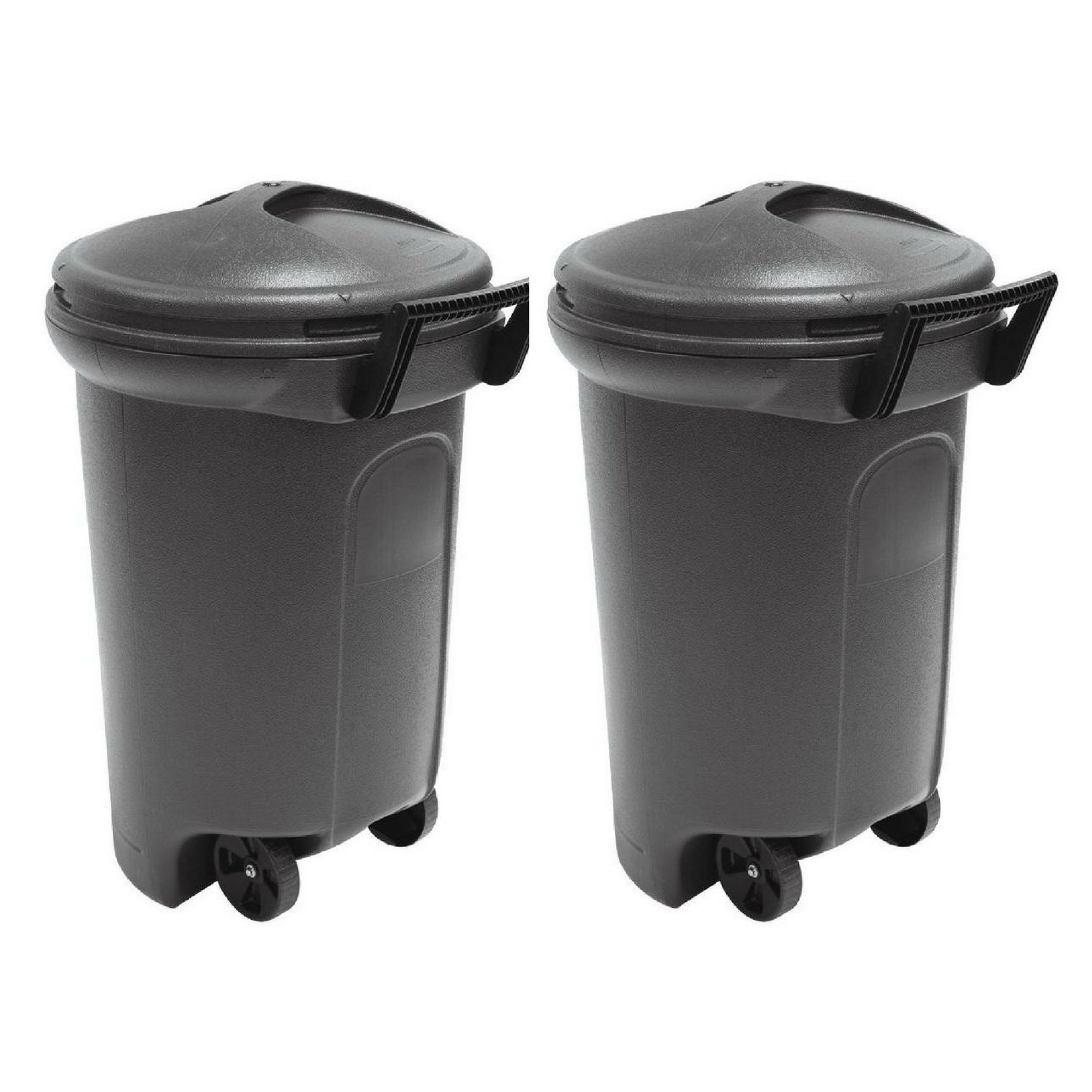 United Solutions 32 Gal. Wheeled Blow Molded Outdoor Trash Can in Black - 2 Pack