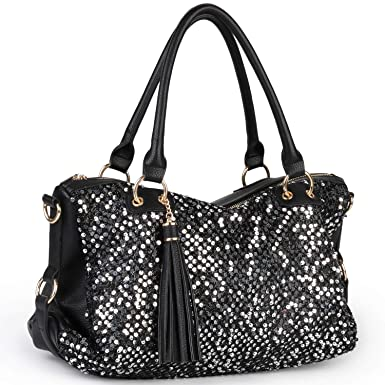 d923a09db787 Amazon.com  COOFIT Black Purse Handbag Hobo Style Sequin PU Leather  Shoulder Bag for Women  Clothing
