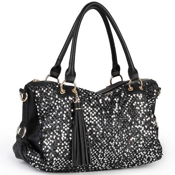 30abd130bad5 Amazon.com  COOFIT Black Purse Handbag Hobo Style Sequin PU Leather Shoulder  Bag for Women  Clothing