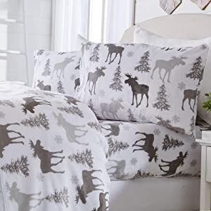 Great Bay Home Micro Fleece Extra Soft Cozy Velvet Plush Printed Sheet Set. Deluxe Bed Sheets with Deep Pockets. Velvet Luxe Collection (King, Moose)