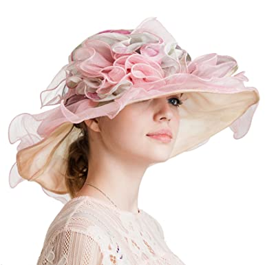 Women s Tea Party Kentucky Derby Hats Organza Easter Church Fascinator  Bridal Wedding Hat 999a17221e6