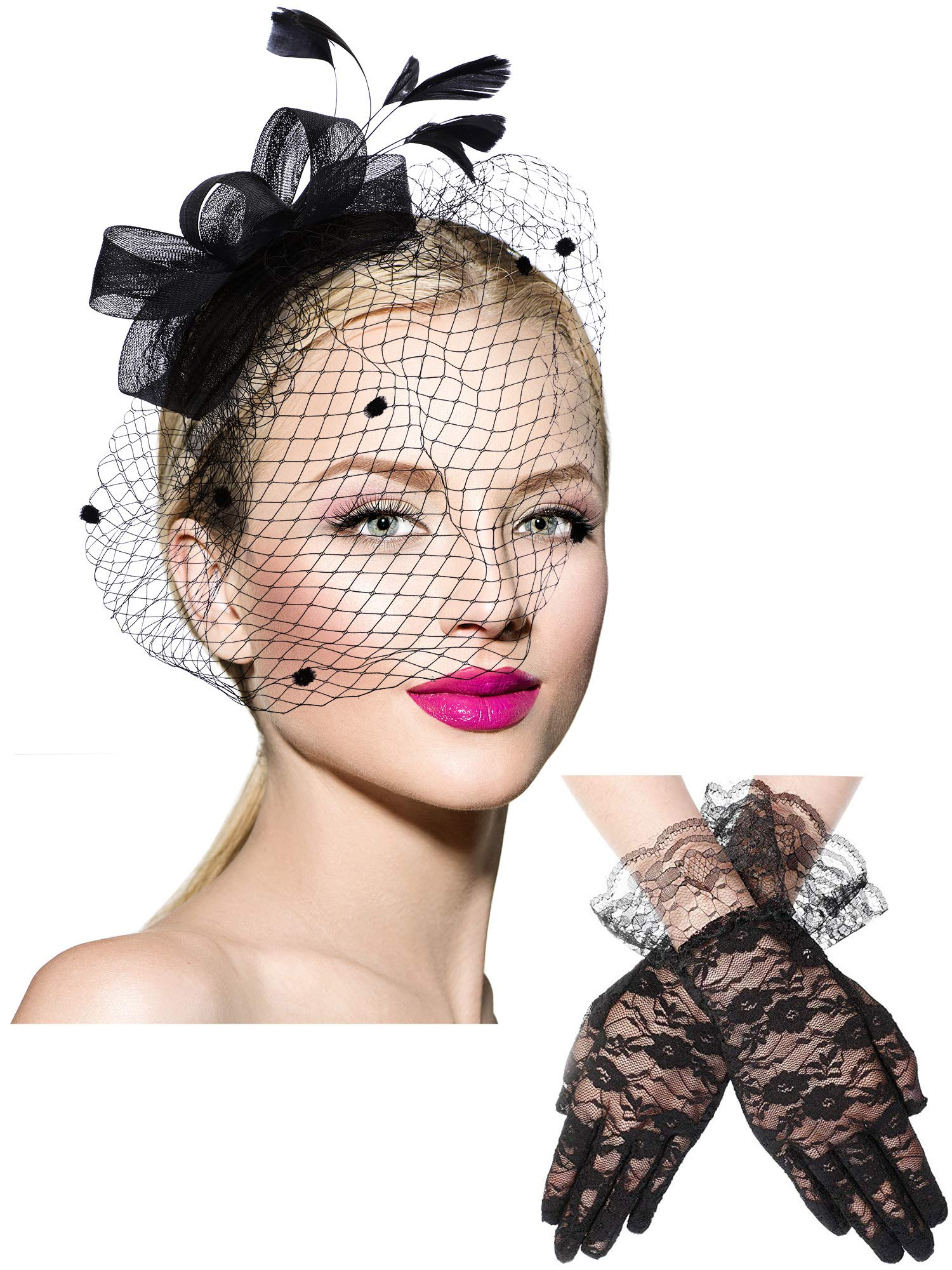 Bowknot Fascinator Hat Feathers Veil Mesh Headband and Short Lace Gloves Floral Lace Gloves Black by Boao