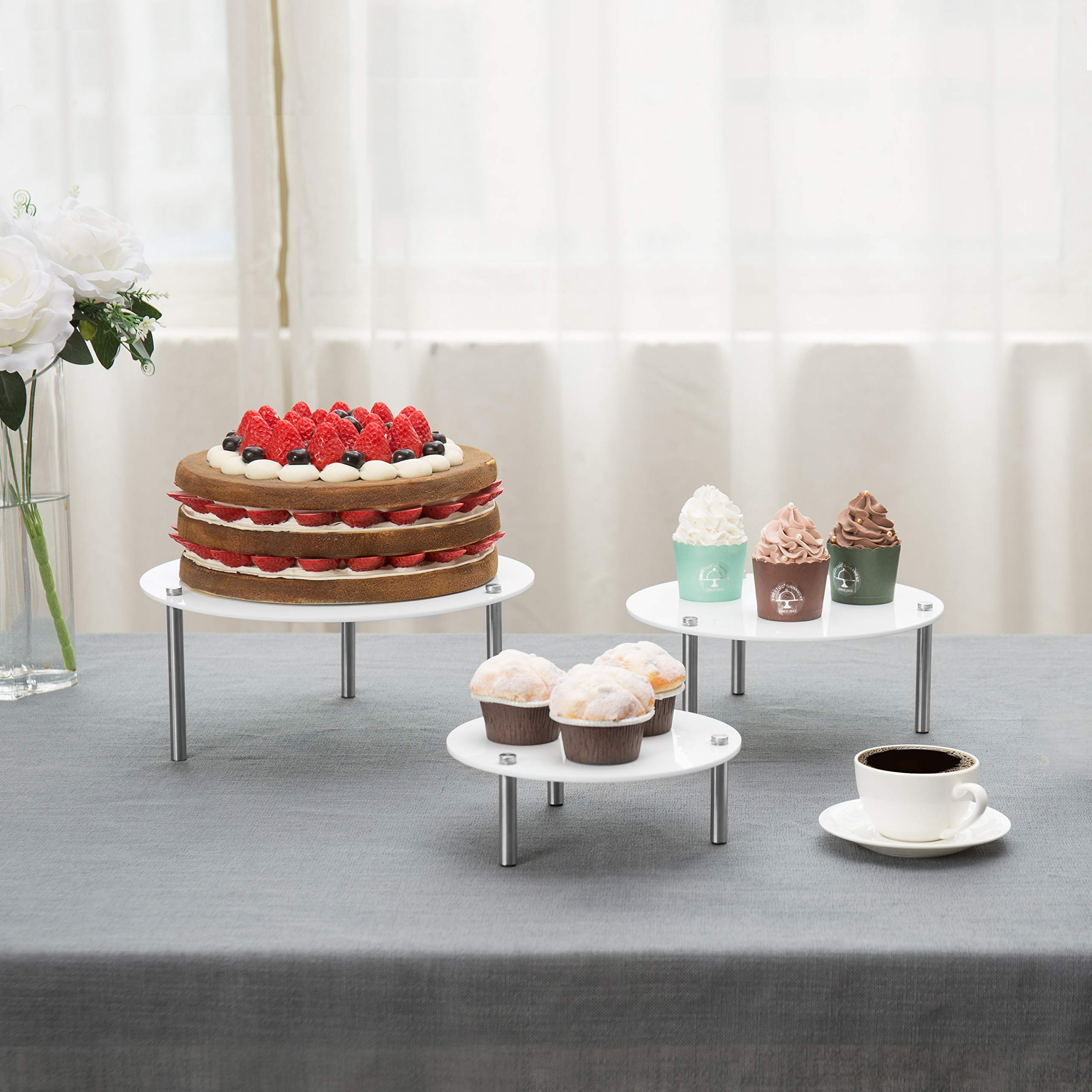 MyGift 3-Tier Round White Acrylic Cupcake Display Riser Stands by MyGift