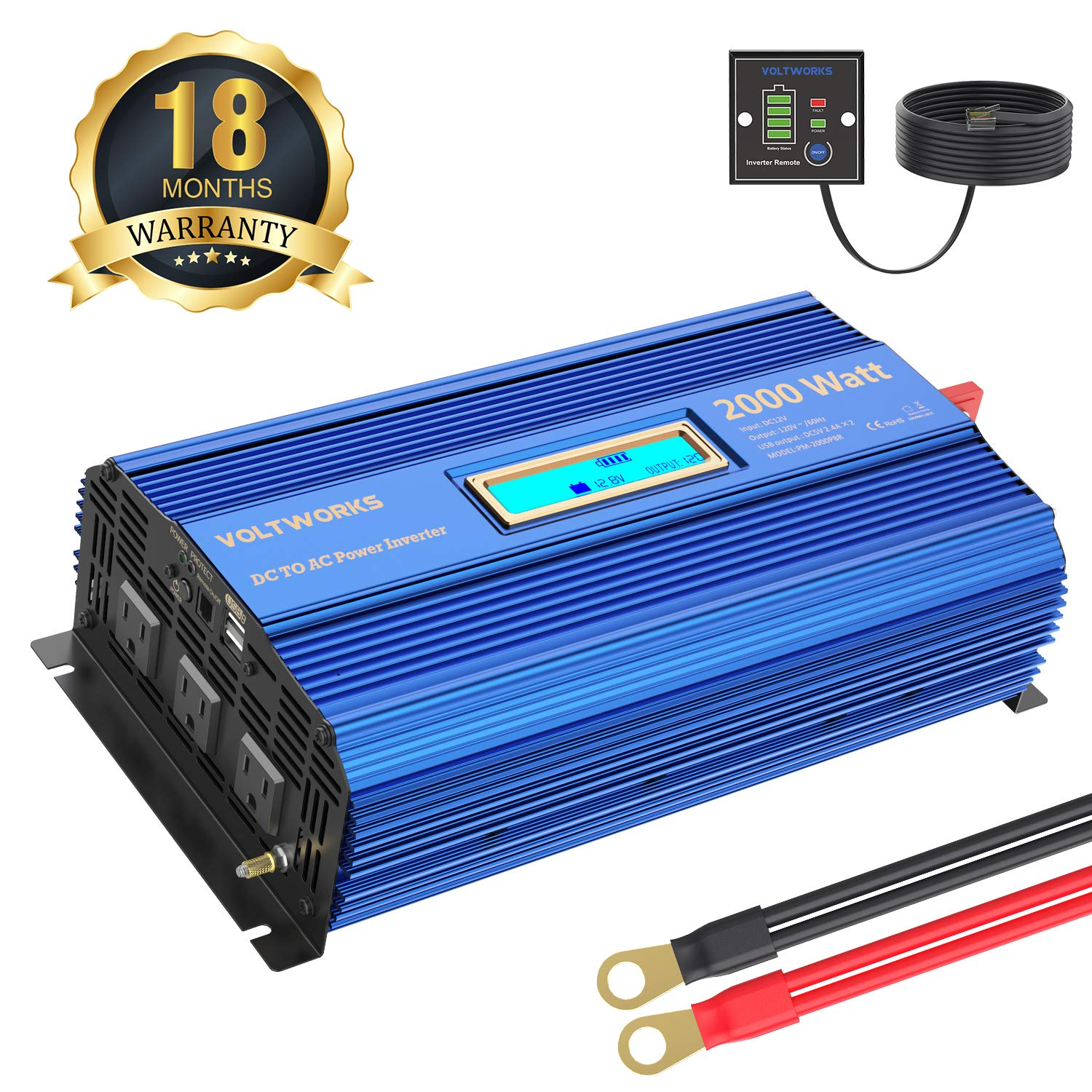 Power Inverter 2000Watt DC 12Volt to AC 120Volt with Remote Control & LCD Display Dual 2.4A USB Ports for RV Truck Boat by VOLTWORKS