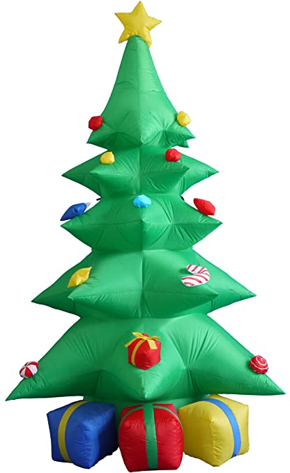 8 foot tall lighted christmas inflatable green tree with multicolored gift boxes and star indoor outdoor