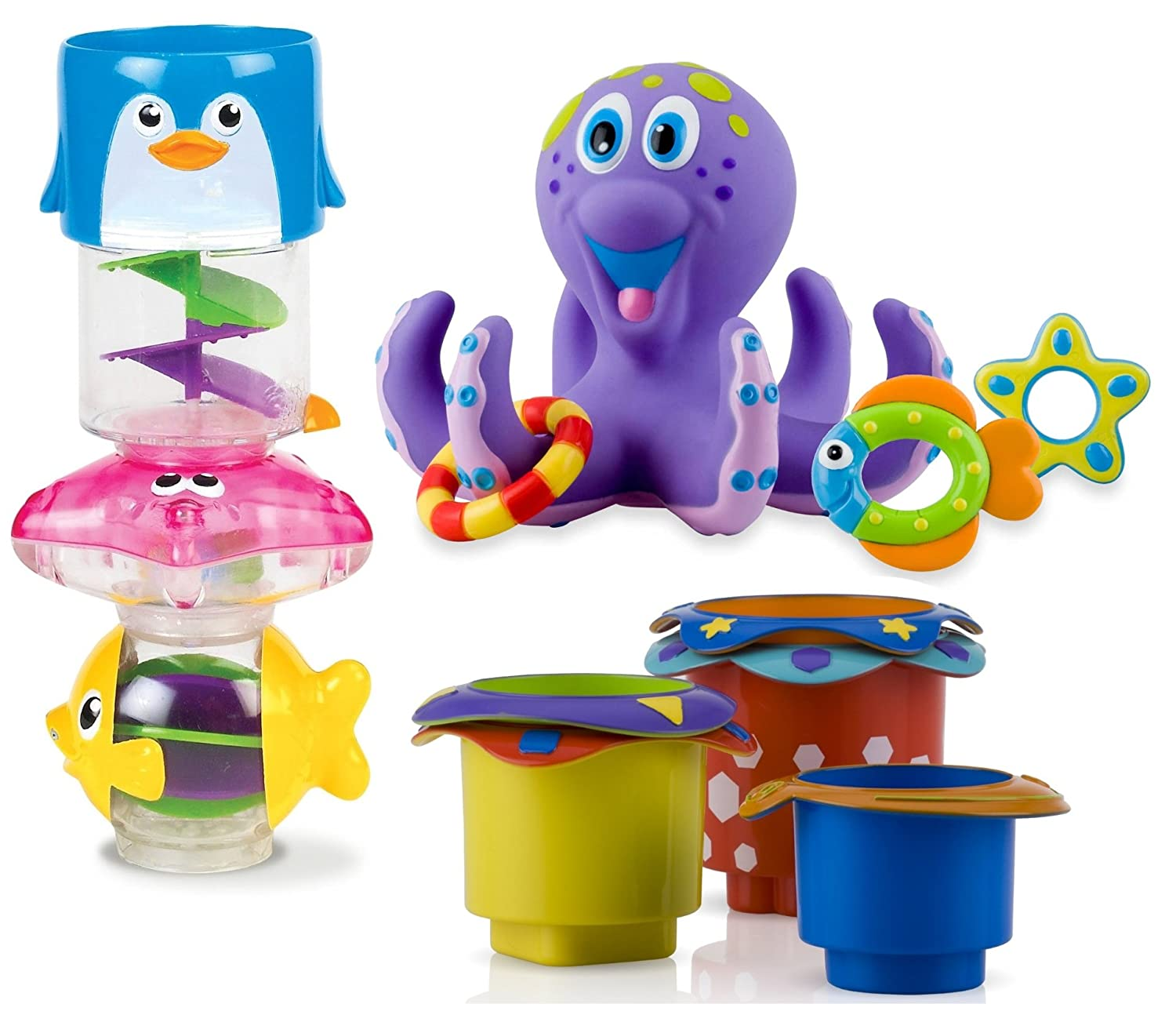 Munchkin Wonder Waterway Bath Tub Toy With Stacking Cups And Time Octopus Delicate