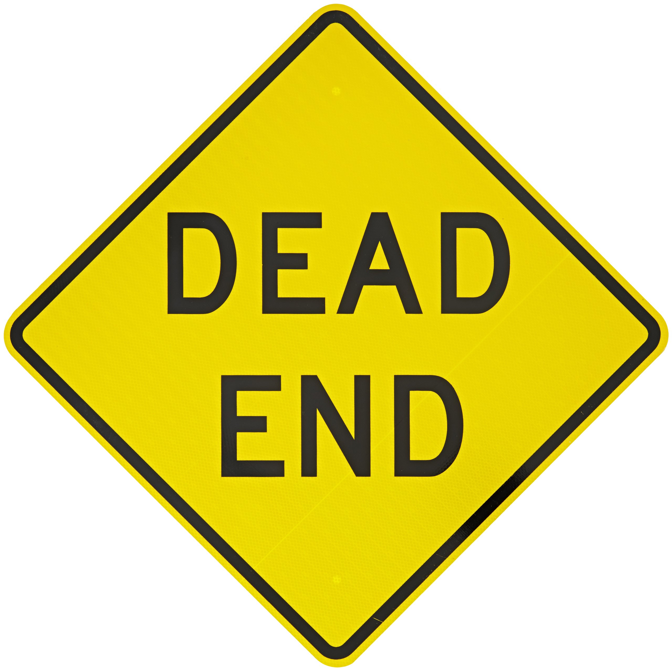 Tapco W14-1 Engineer Grade Prismatic Warning Sign, Legend ''DEAD END'', 24'' Width x 24'' Height, Aluminum, Black on Yellow