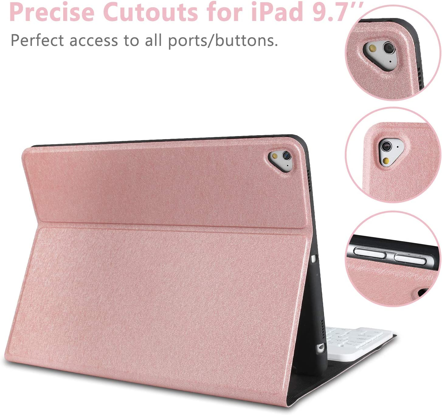 Keyboard Case Compatible with iPad Mini 5//4//3//2//1 iPad Mini Case with Keyboard-Wireless Bluetooth Keyboard Cover 7.9 inch-Rose Gold