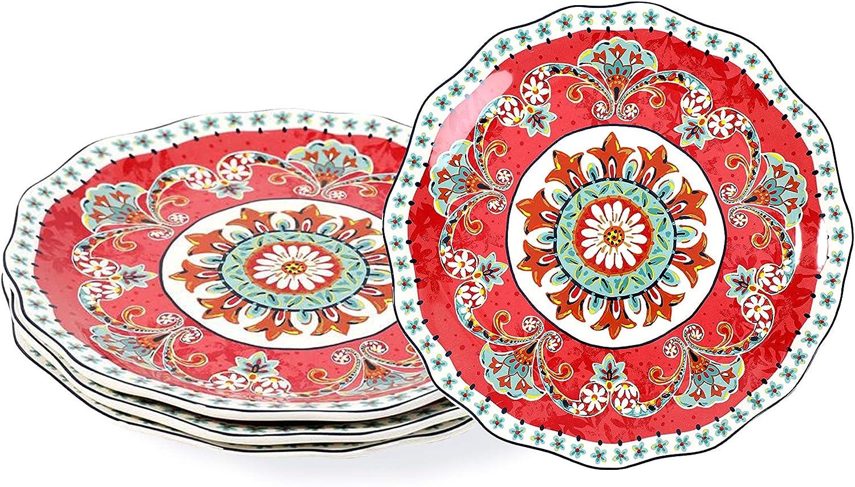 Sonemone Dinnerware Set, Dinner Plates Platos De Cocina Ceramic Plate Set for 4, 11 Inch