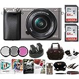 Sony Alpha a6000 Camera w/ 16-50mm Lens Two 64GB SD Card Bundle - Graphite