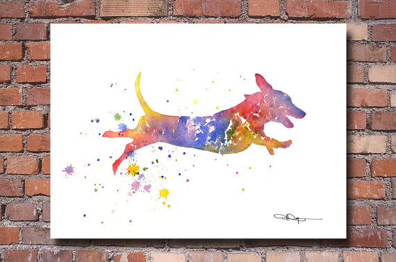 Dachshund Watercolor Abstract Painting Wall by 1GalleryAbove