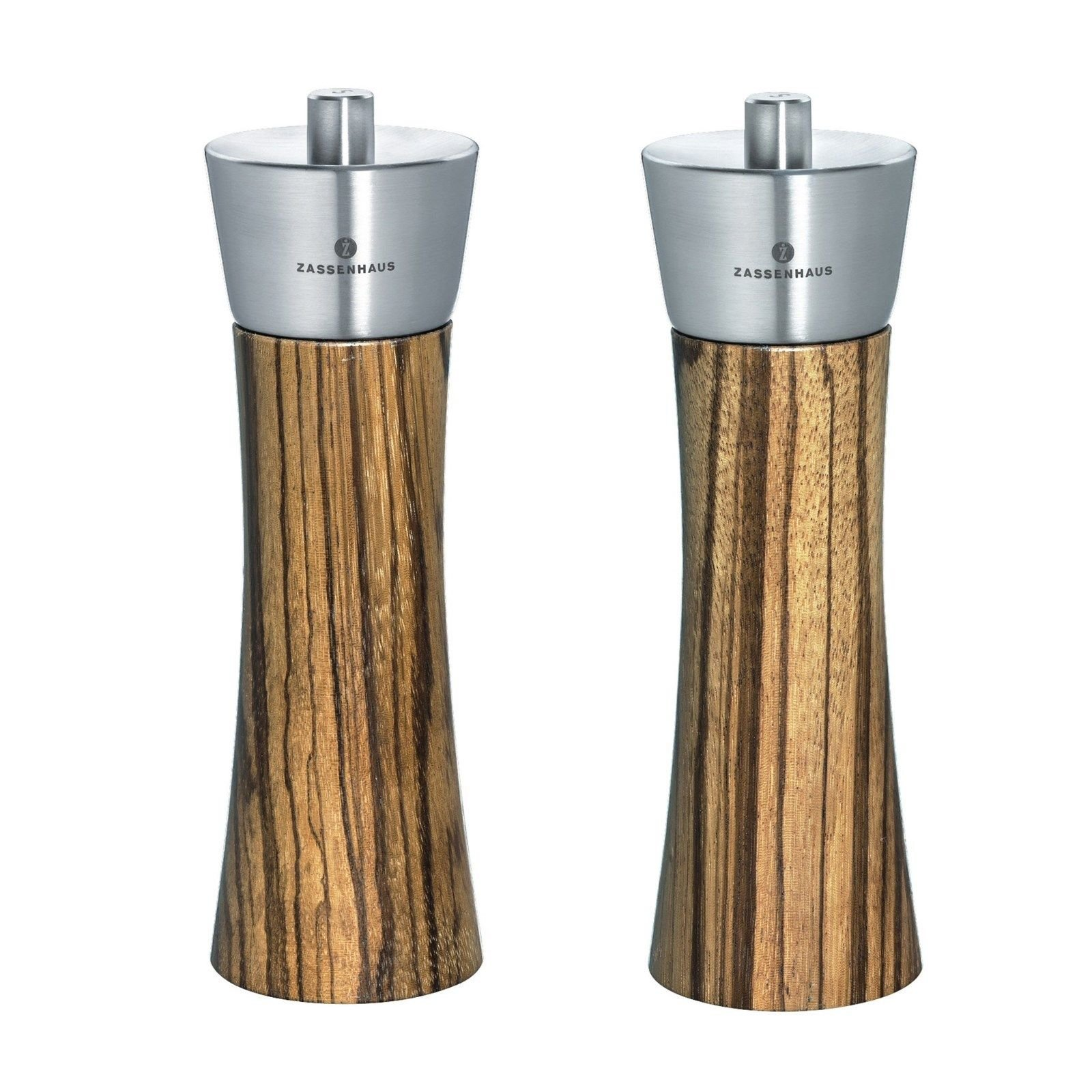 Zassenhaus Augsburg 7'' Zebrano Wood Salt & Pepper Mill / Grinder Set