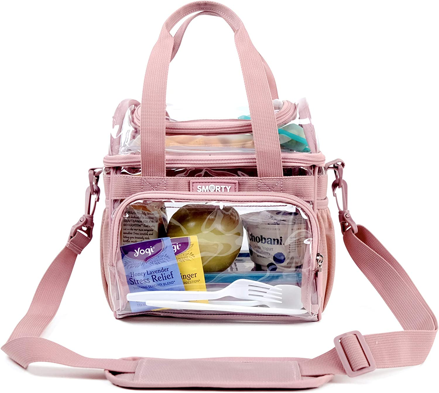 Medium Heavy Duty Clear Lunch Tote Stadium Bag Event Approved Diaper Travel Makeup Cosmetic Bag for NFL Football NCAA Basketball PGA NASCAR Concerts Correctional Officers (Pink, 10 x 9.5 x 6)