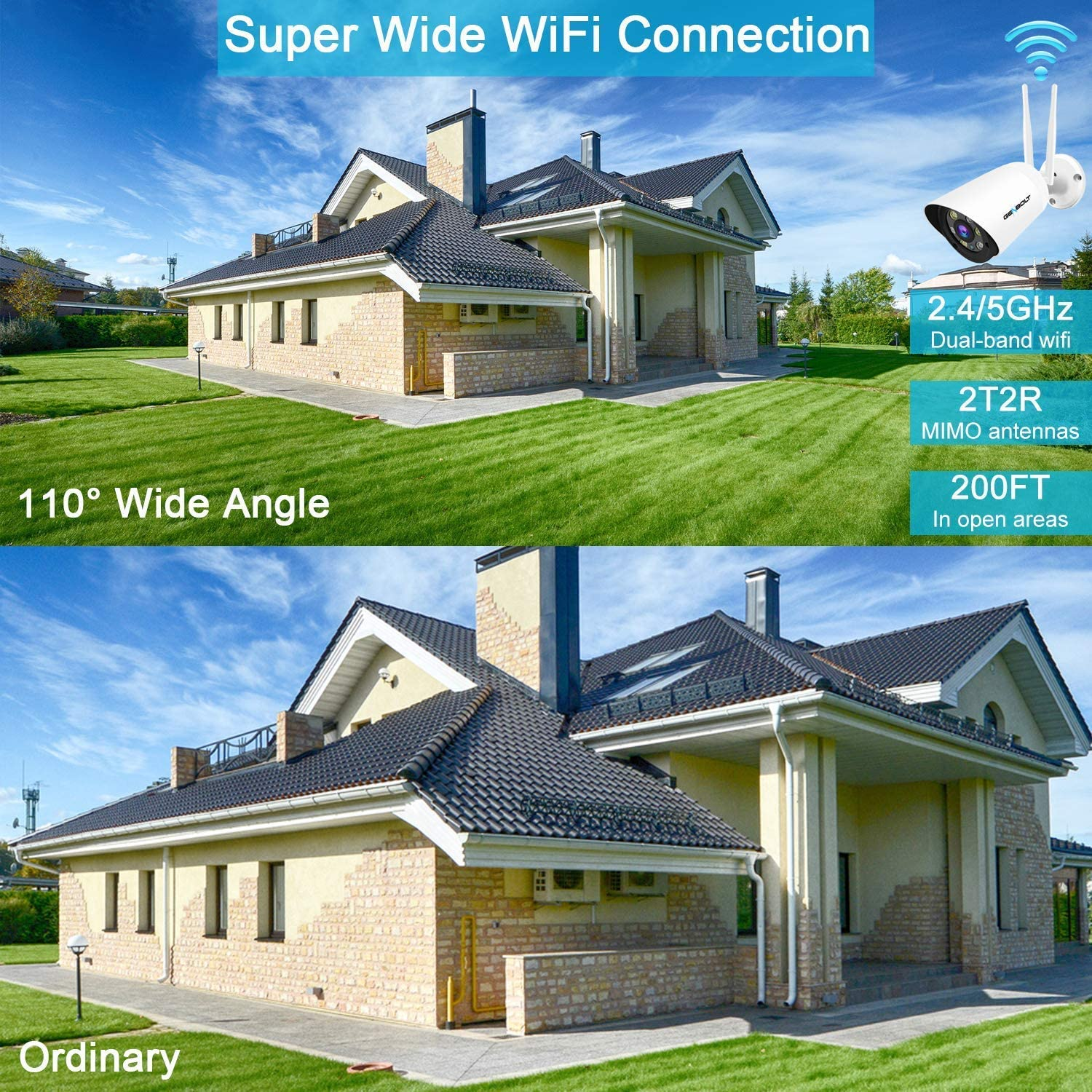 2.4//5GHz Floodlight Security Camera Outdoor,GENBOLT Wireless WiFi IP Home Surveillance Camera 1080P,AI Humanoid Motion Detection,Two-Way Audio,110/° Super Wide View,Instant Image Activity Alert