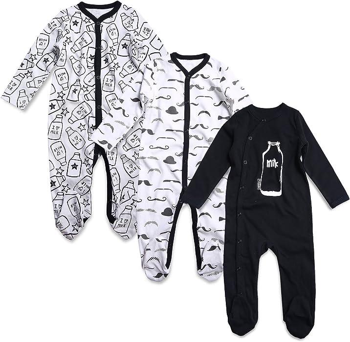 612eb5d3262f Amazon.com  OPAWO Baby Boys  Footed Sleeper Pajamas 3 Pack Long ...