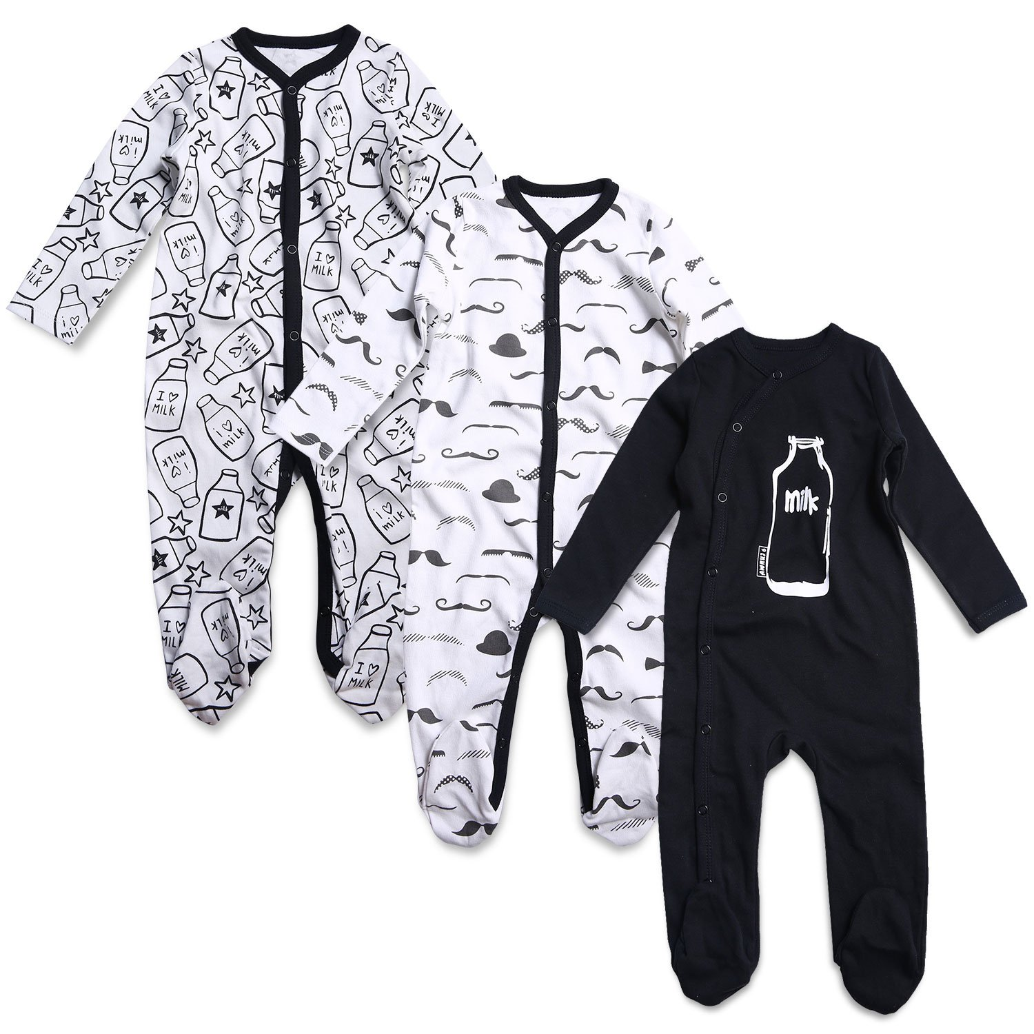 OPAWO Baby Boys' Footed Sleeper Pajamas 3 Pack
