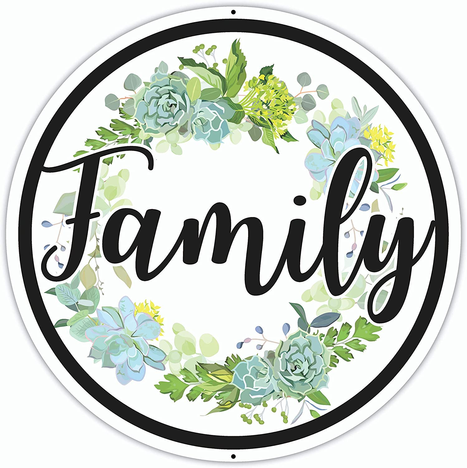Metal Family Sign - 12 x 12 Inches - Aluminum - Large Round Family Wall Signs - Decorative Family Signs for Home Decor Wall - Big Iron Family Word Signa Plaque Art for Living Room Rustic Farmhouse
