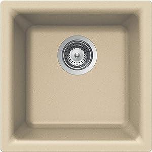 Houzer E-100 SAND Quartztone Series Granite Dual Mount Bar/Prep Sink, Biscuit