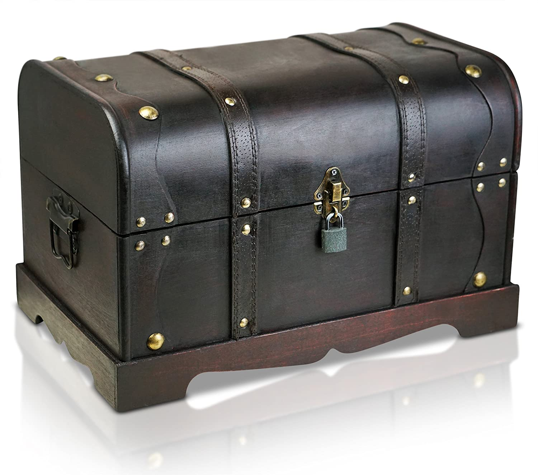 Brynnberg XL wooden pirate treasure chest | decorative storage box model 'Columbus grande' | Vintage decoration handmade 15,7 x 9,8 x 9,8 inch