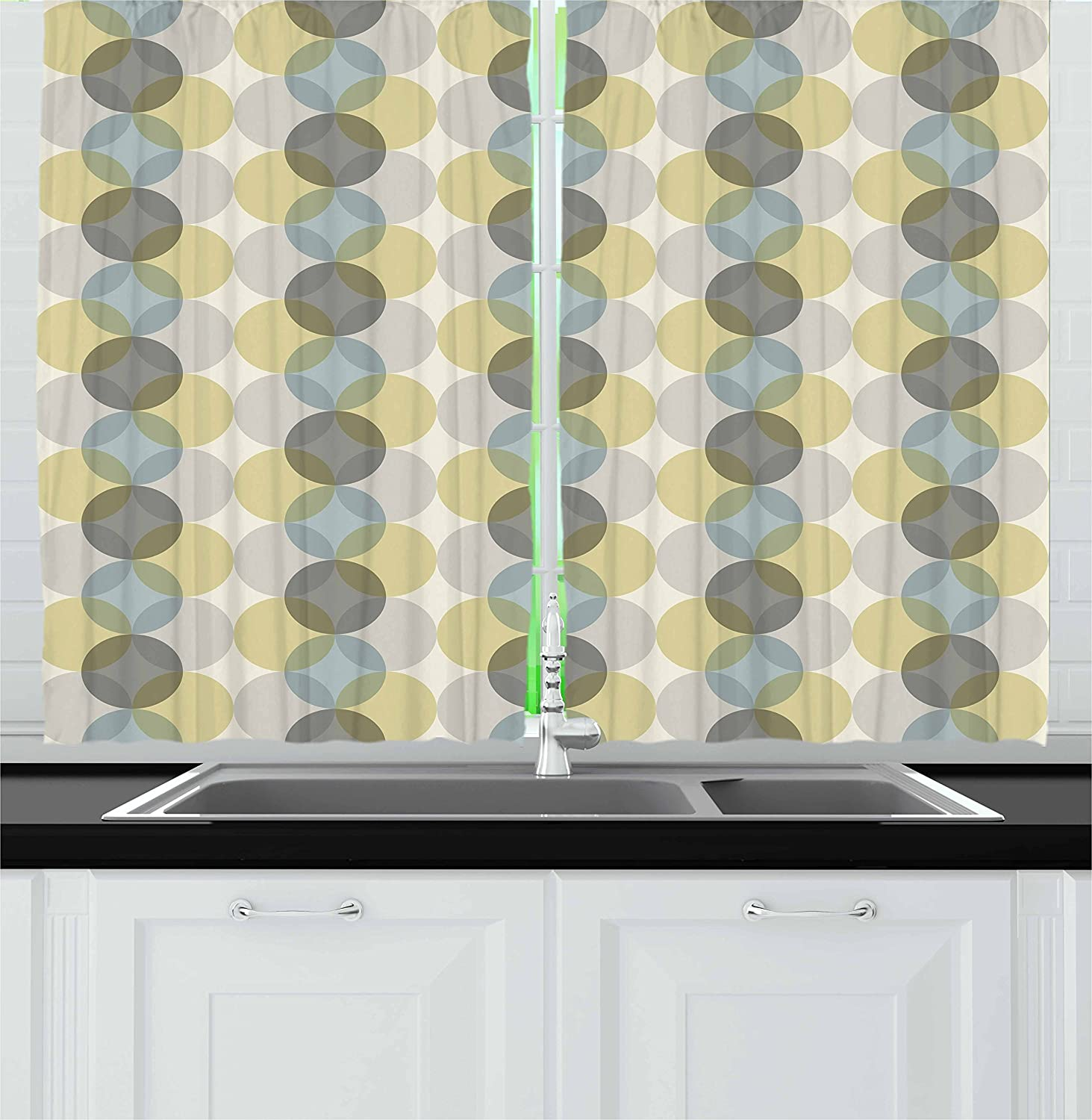 Lunarable Circle Kitchen Curtains, Flower of Life Design Vintage Fifties Midcentury Atomic Art Movement Inspired, Window Drapes 2 Panel Set for Kitchen Cafe, 55 W X 39 L Inches, Grey Sephia Beige