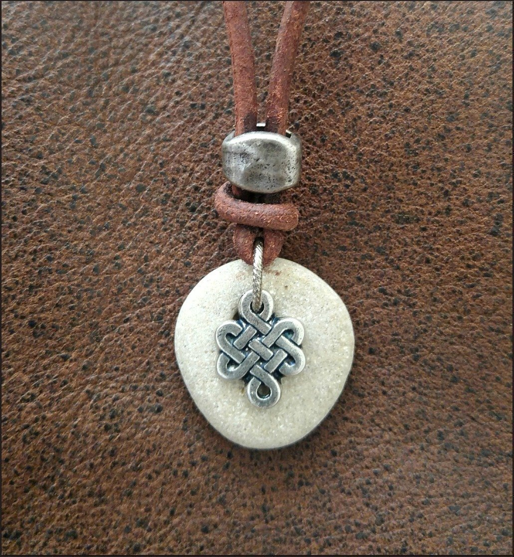 Amazon Com Natural Hag Stone Necklace Mens Leather Necklace With Celtic Knot Charm Handmade Contact natural stone jewelry on messenger. natural hag stone necklace mens leather necklace with celtic knot charm