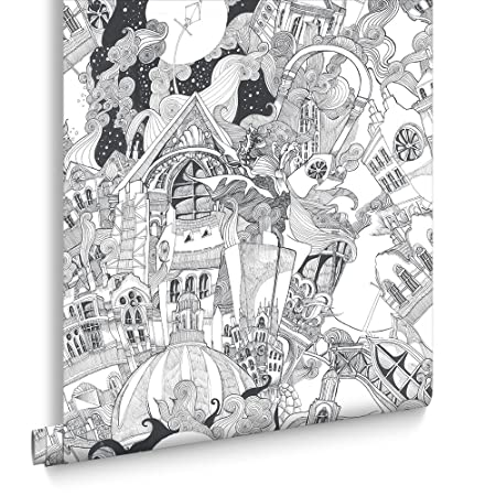Graham Brown Lizzies Street Doodle Black White Wallpaper Bedroom Study