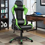 Giantex Gaming Chair Racing Chair Ergonomic Office Chair w/ High Back Lumbar Support and Pillow Executive Computer Task Desk Gaming Chair (Green)