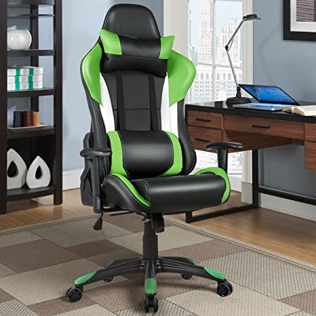Review Giantex Gaming Chair Racing Chair Ergonomic Office Chair w/ High Back Lumbar Support and Pillow Executive Computer Task Desk Gaming Chair (Green)