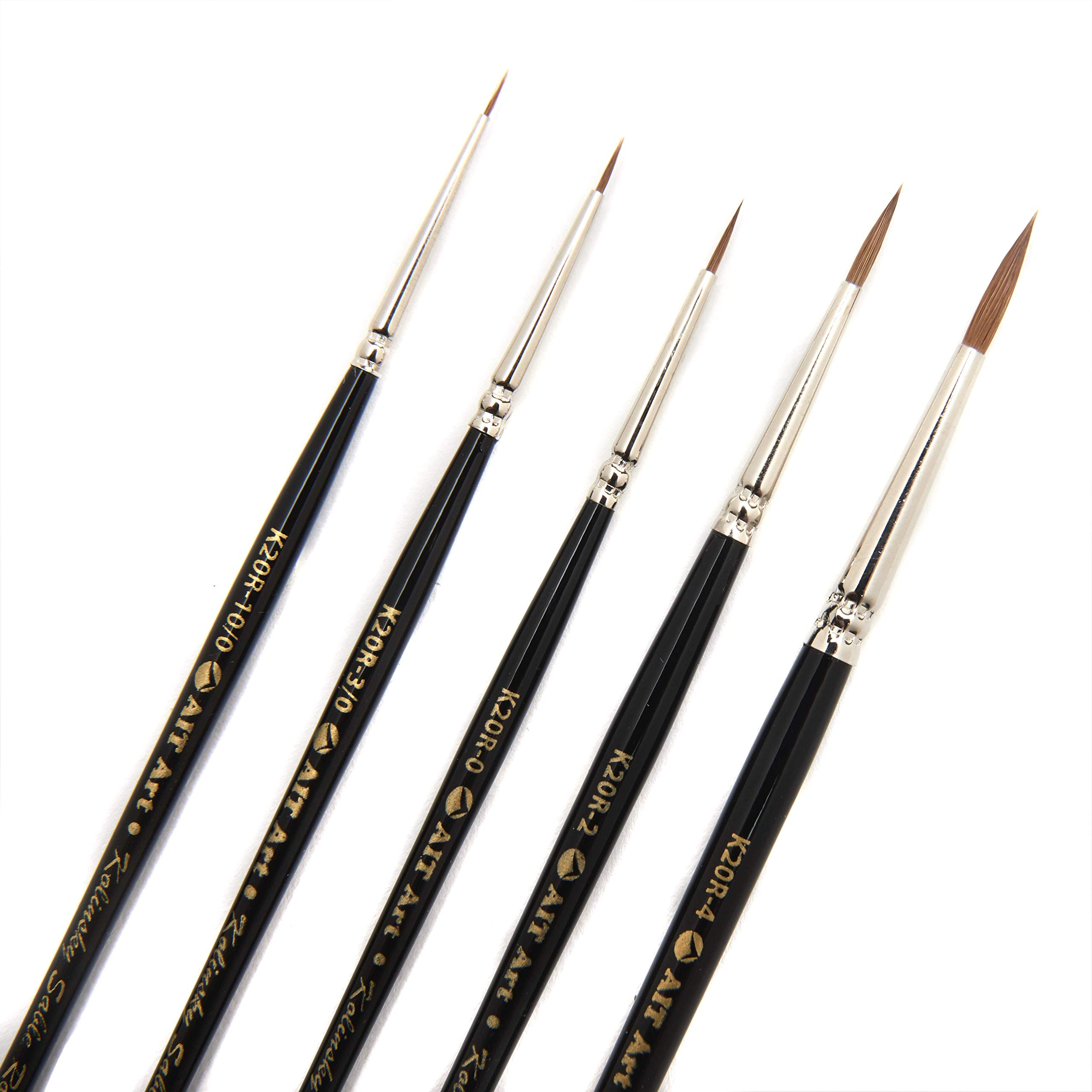 AIT Art Premium Detail Brush Set, 5 Pure Kolinsky Russian Red Sable Paint Brushes, Handmade in USA, Best Quality Set for Ultimate Details with Oil, Acrylic, and Watercolors