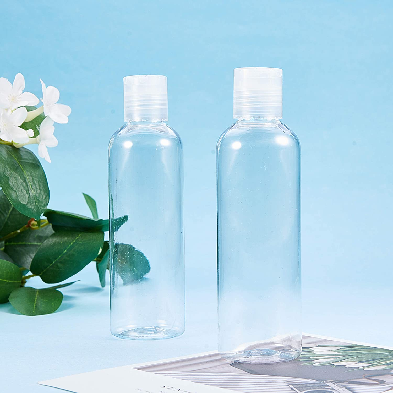 BENECREAT 24 Pack 30 ml Bottiglie Trasparenti con Tappo a Pressione Bianco Contenitori in Plastica Pet Vuoti per Sapone per la Pulizia del Viso Ricaricabili e Portatili