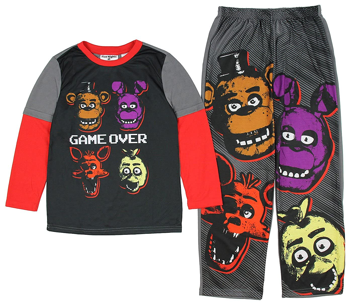 bioworld Five Nights at Freddy's Game Over Four Heads Two Piece Youth Pajama Set