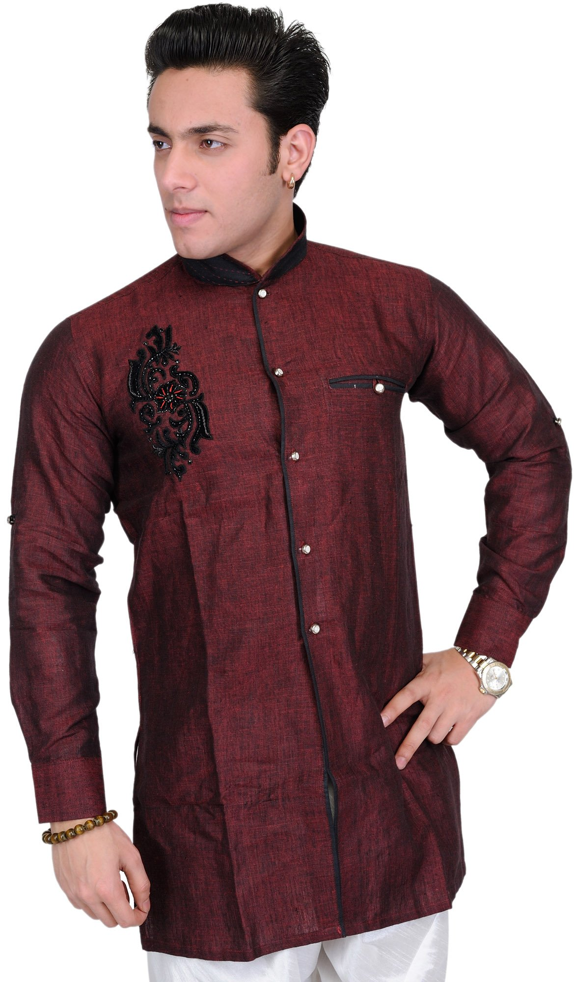 Exotic India Hot-Chocolate Wedding Shirt with Embroider - Black Size 38