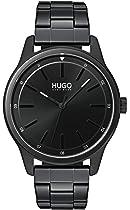 Hugo Men's #Dare Quartz Black IP and Black IP Bracelet Casual Watch, Color: Black (Model: 1530040)