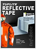 Tufkote FRT-SLR-01 Safety Silver Fabric Reflective Stripe, Sew on Material, 2 inch, Non-Adhesive, 1 Meter