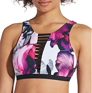 418448355155e CALIA by Carrie Underwood Women's Cage Front High Neck Printed Bikini Top  (XS, Iris