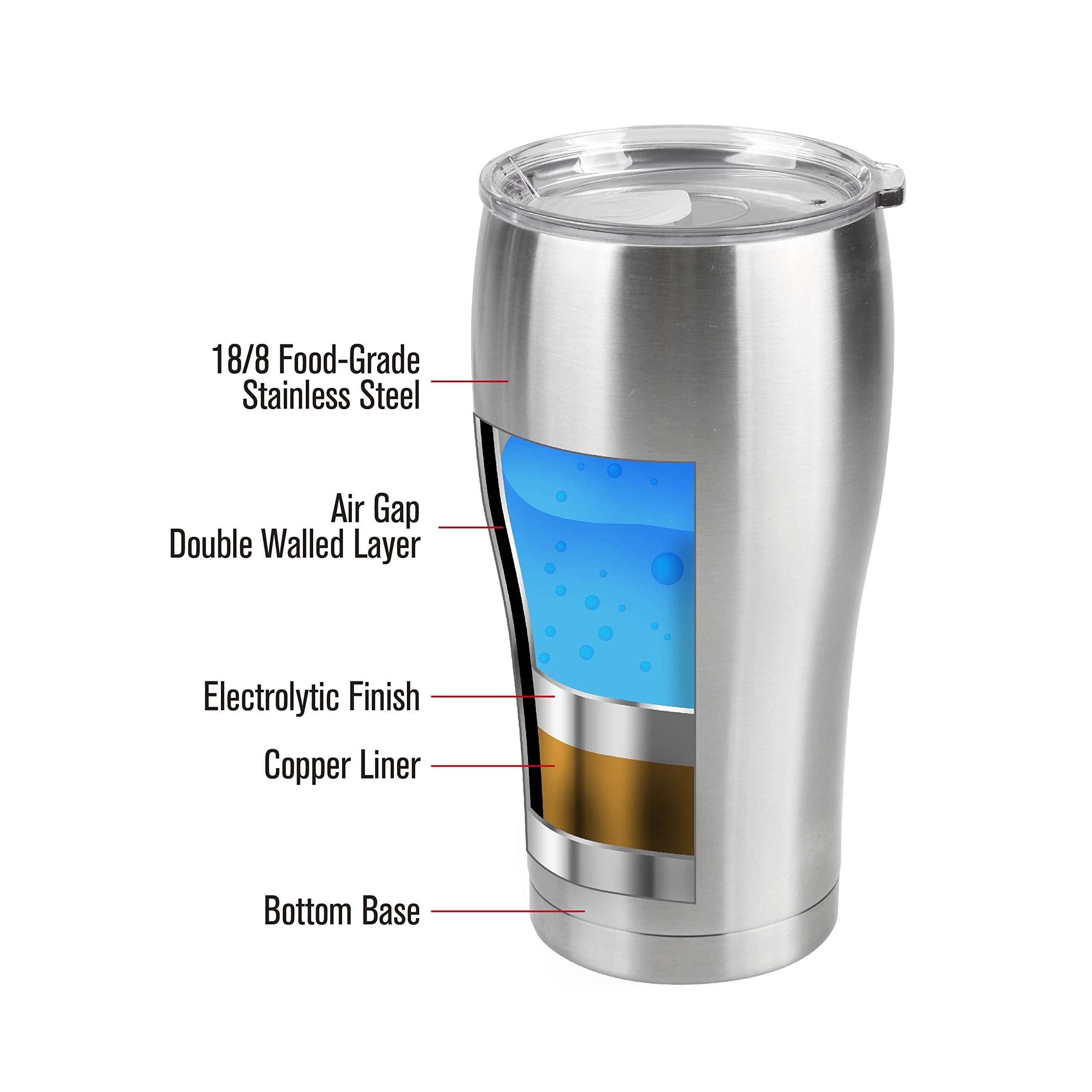 Tahoe Trails 84-621 30oz Stainless Steel Vacuum Seal Double Walls Tumbler, 30 oz Silver