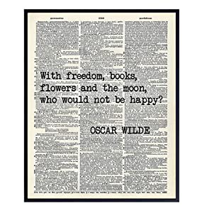 Oscar Wilde Inspirational Literary Quote Dictionary Wall Decor - Upcycled Home Art Decoration Sign for Office, Apartment, Bedroom, Bathroom, Living Room - Great Gift - Unique 8x10 Poster Picture