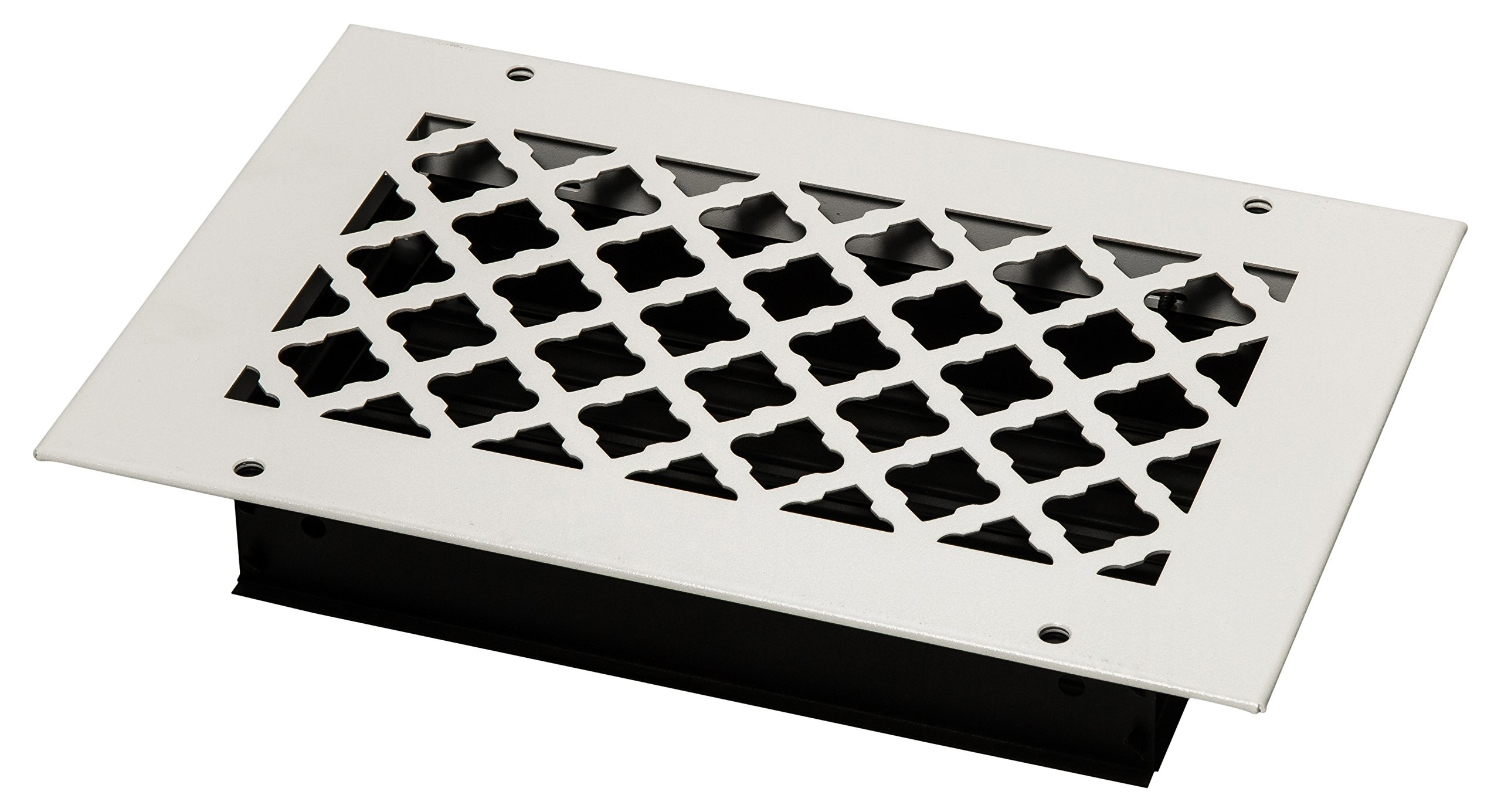 SteelCrest BTU10X6SWHH Bronze Series Designer Wall/Ceiling Vent Cover, with Air-Volume Damper, and Mounting Screws, White