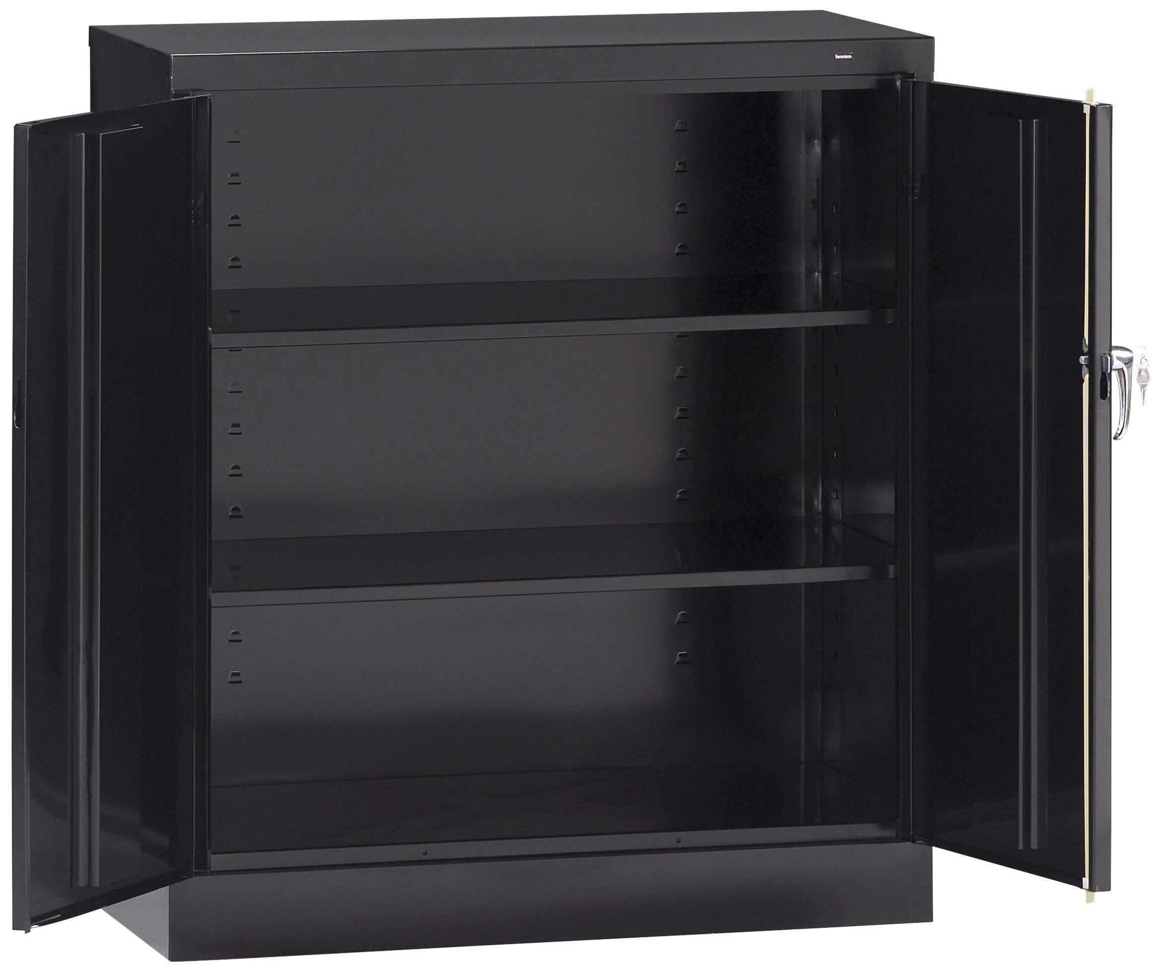 Tennsco 4218 24 Gauge Steel Standard Welded Counter High Cabinet, 2 Shelves, 150 lbs Capacity per Shelf, 36'' Width x 42'' Height x 18'' Depth, Black (Renewed) by Tennsco (Image #1)