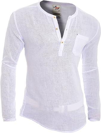 Hombre Camisa Casual Lona Henley Verano 100% algodón Ajustado ...