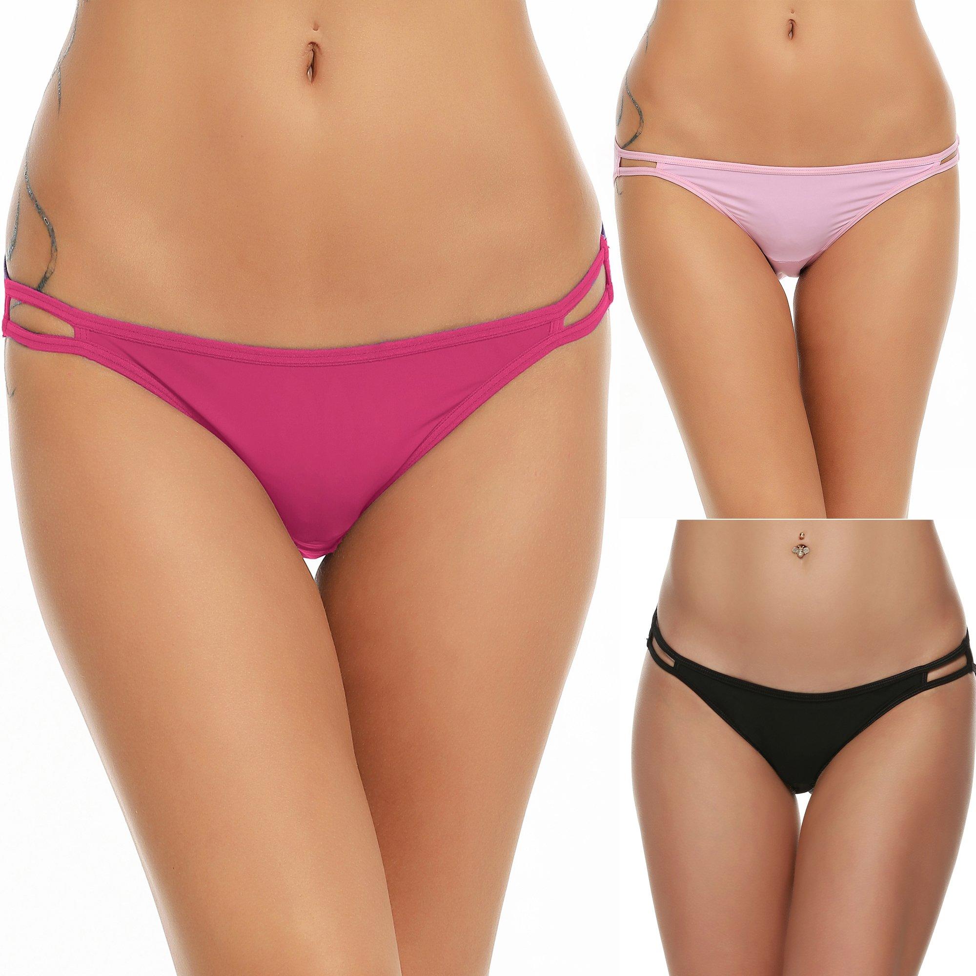 dbe6e00b7eb6 Galleon - Ekouaer Sexy Bikini Panties Womens 3 Pack Invisible Briefs  Underwear Red Assorted, XL