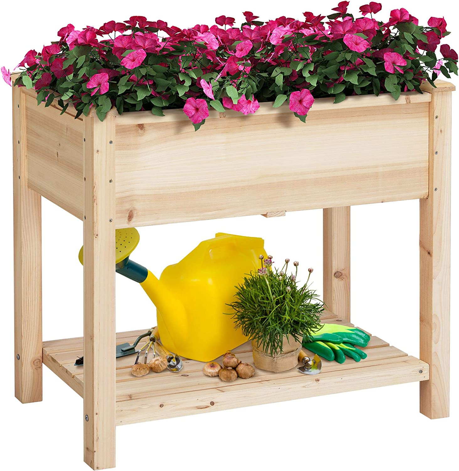 Topeakmart Solid Wooden Raised Vegetable Garden Bed Elevated Planter Kit Grow Gardening Box with Legs Storage Shelf 8 inches Depth of Box Load Capacity 220lbs