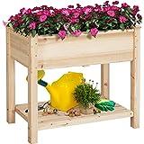 Topeakmart Solid Wooden Raised Vegetable Garden Bed Elevated Planter Kit Grow Gardening Box with Legs Storage Shelf 8…