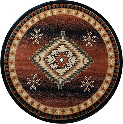 South West Area Rug Round 7 Ft. 3 In. X 7 Ft. 3 In. Black Bellagio 357