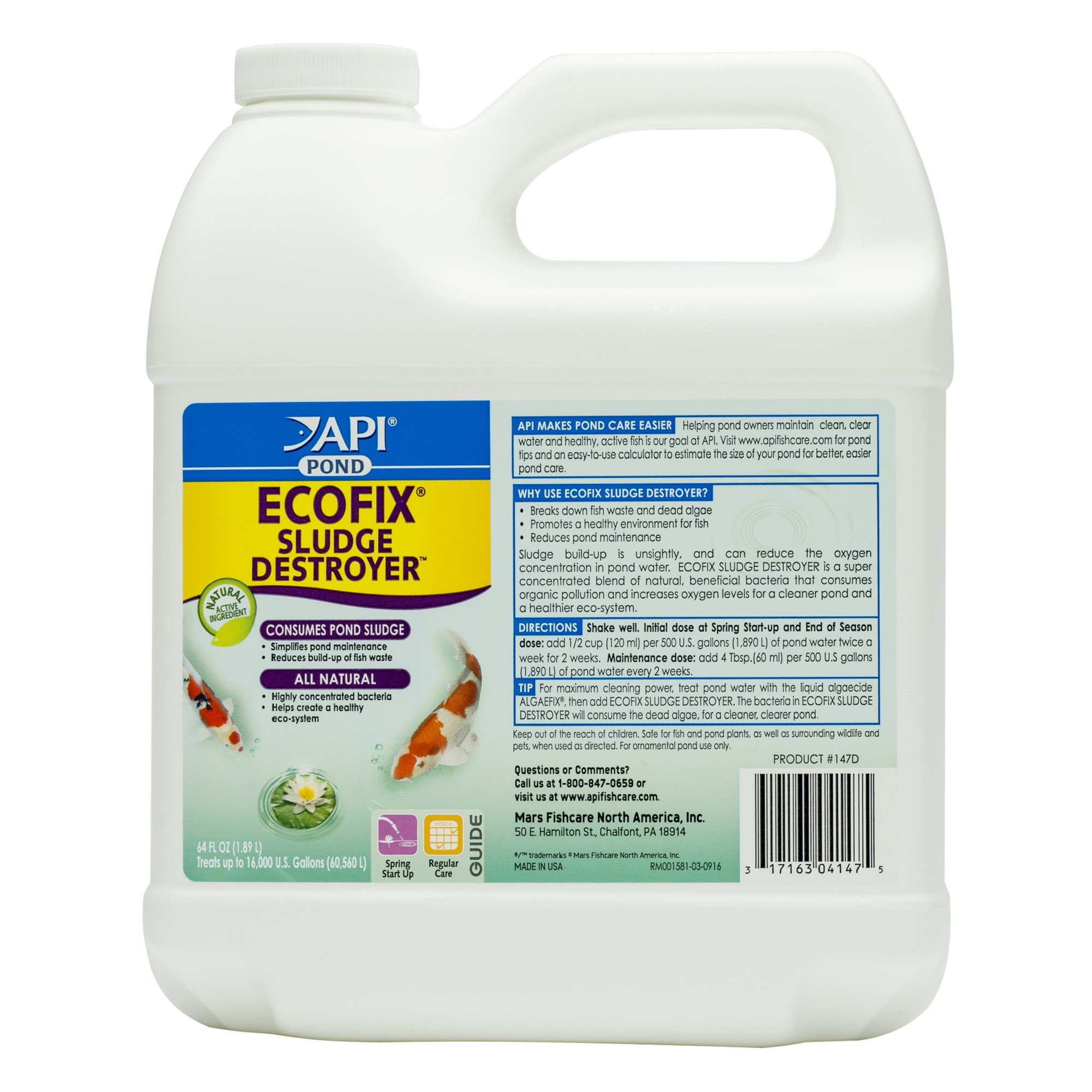 API POND ECOFIX SLUDGE DESTROYER Pond Water Clarifier and Sludge Remover Treatment 64-Ounce Bottle by API (Image #1)