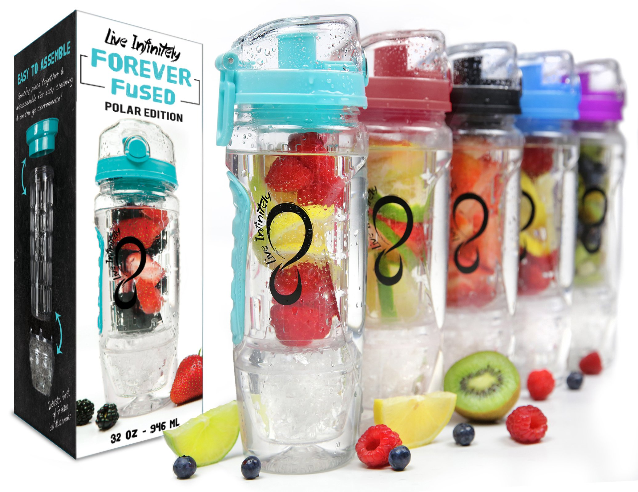 Live Infinitely 32 oz. Infuser Water Bottles - Featuring First Ever Gel Freezer Ball Infusion Rod, Flip Top Lid, Larger Dual Hand Grips & Recipe Ebook Gift (Teal Polar Edition, 32 Ounce)