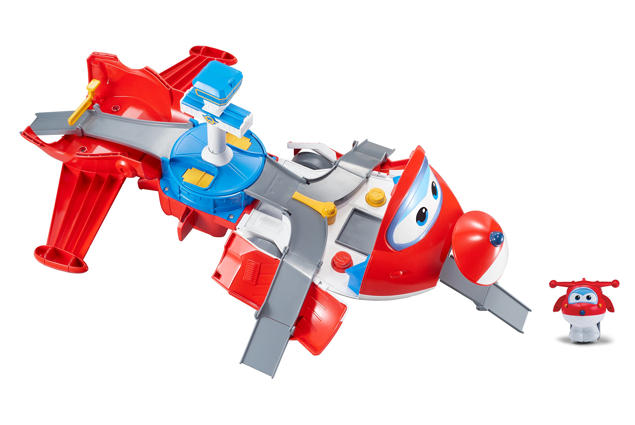 Super Wings - Jett's Takeoff Tower 2-in-1 Toy Playset | Includes Figure | Pop 'n Transform Scale