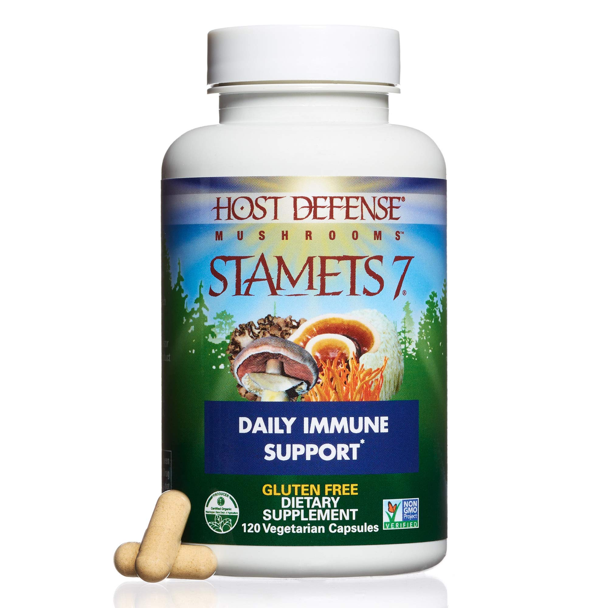 Host Defense - Stamets 7 Multi Mushroom Capsules, Supports Overall Immunity by Promoting Respiration and Digestion with Lion's Mane, Reishi, and Cordyceps, Non-GMO, Vegan, Organic, 120 Count