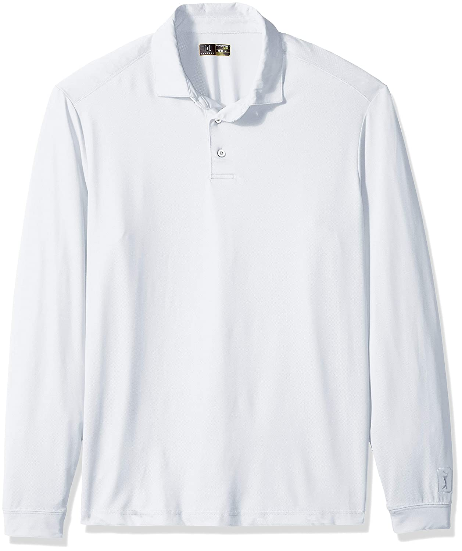 PGA TOUR Mens M360 Ventilated Long Sleeve Self Collar Polo